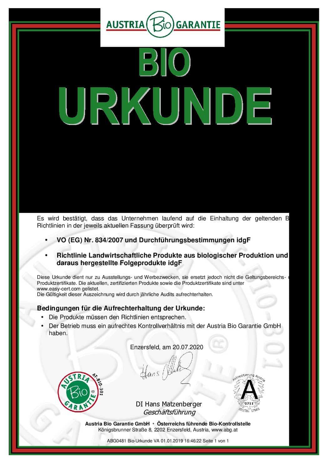 cbd магазин - bio austria garantie urkunde pdf