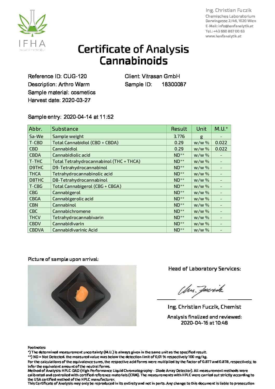 cbd магазин - biokosmetik analysenzertifikat arthro warm 03 2020 pdf