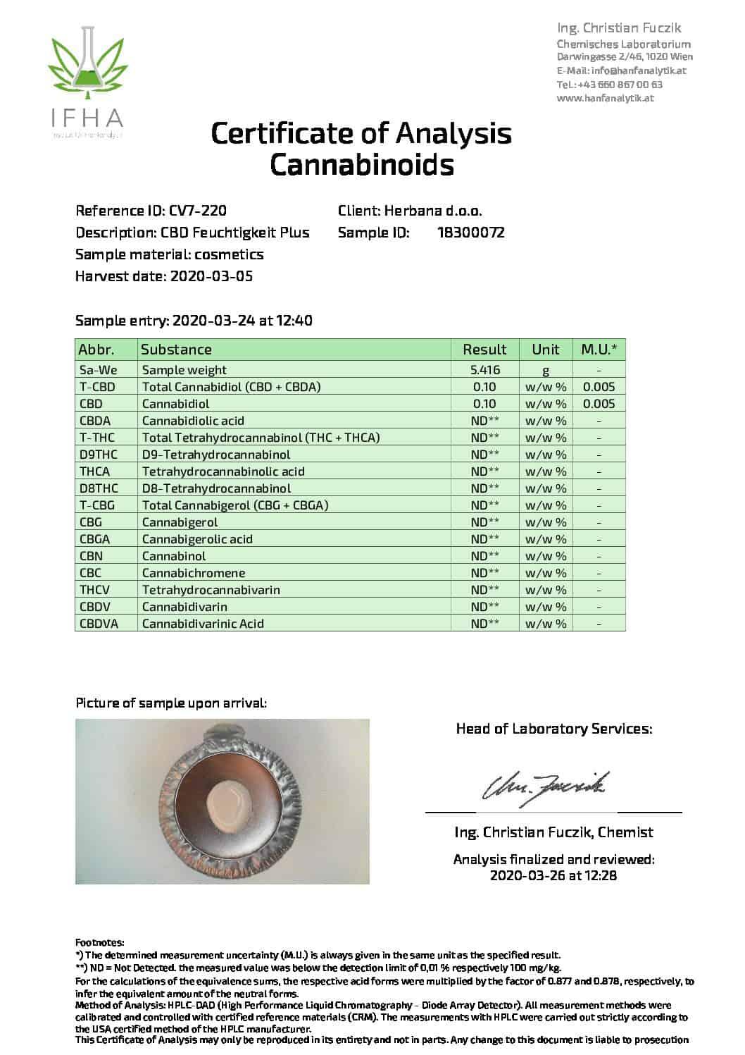cbd магазин - premium analysenzertifikat feuchtigkeitplus 03 2020 pdf