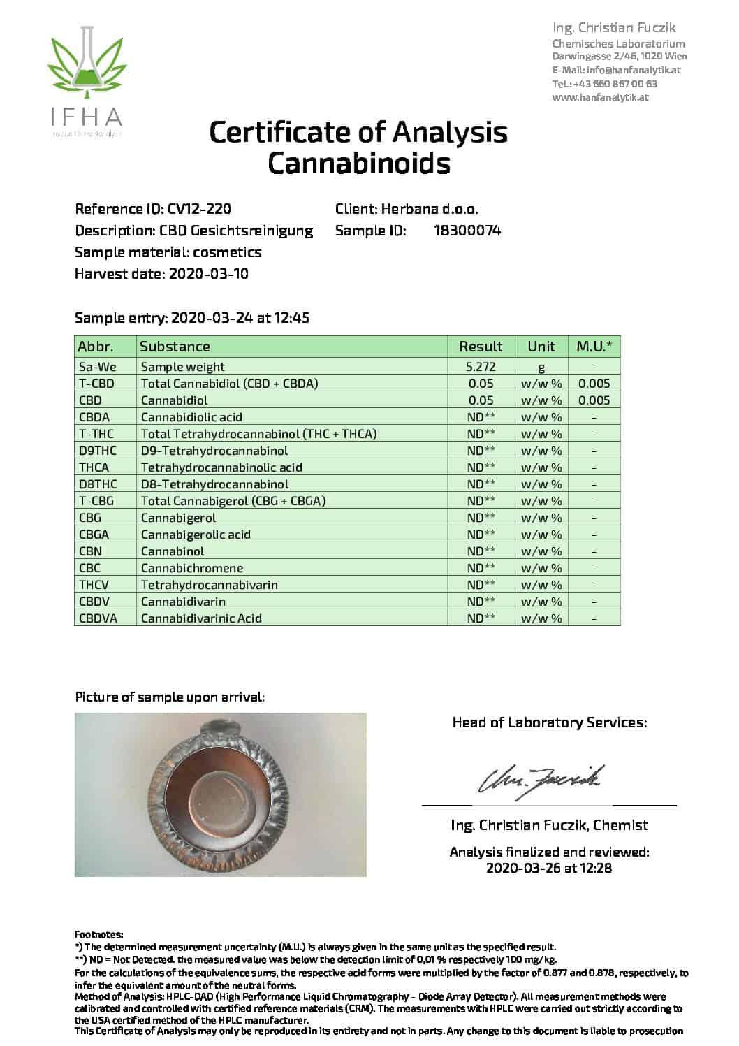 cbd магазин - premium analysenzertifikat gesichtsreinigung 03 2020 pdf